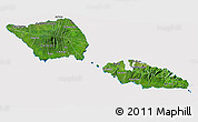 Satellite 3D Map of Samoa, cropped outside