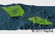 Satellite 3D Map of Samoa, darken