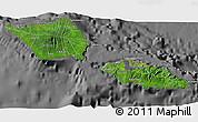 Satellite 3D Map of Samoa, desaturated