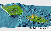 Satellite 3D Map of Samoa, political shades outside, satellite sea