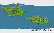 Satellite 3D Map of Samoa, semi-desaturated, land only