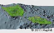 Satellite 3D Map of Samoa, semi-desaturated