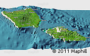Satellite 3D Map of Samoa, shaded relief outside, satellite sea