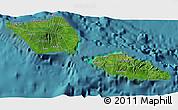 Satellite 3D Map of Samoa, single color outside