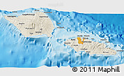 Shaded Relief 3D Map of Samoa, political outside, shaded relief sea