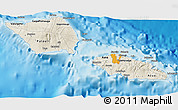 Shaded Relief 3D Map of Samoa, political shades outside, shaded relief sea