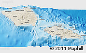 Shaded Relief 3D Map of Samoa, semi-desaturated, land only