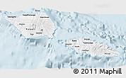 Silver Style 3D Map of Samoa, single color outside