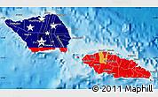 Flag Map of Samoa, political shades outside