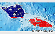 Flag Map of Samoa, shaded relief outside