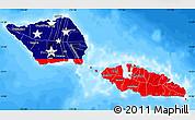 Flag Map of Samoa, single color outside, bathymetry sea