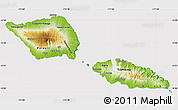 Physical Map of Samoa, cropped outside