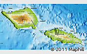 Physical Map of Samoa, darken, land only