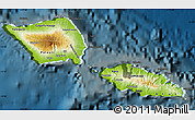 Physical Map of Samoa, darken