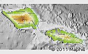 Physical Map of Samoa, desaturated