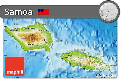 Free Physical Map of Samoa