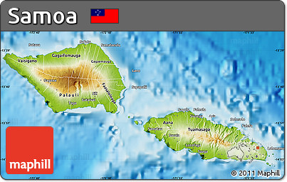 physical map of samoa physical map of samoa
