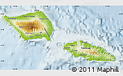 Physical Map of Samoa, lighten