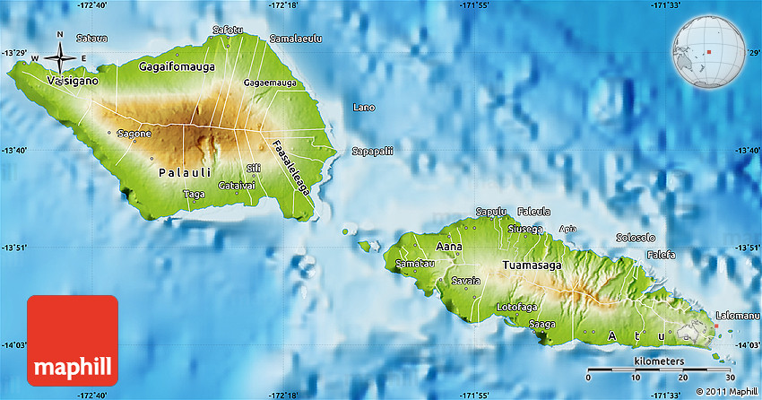 Physical map of samoa