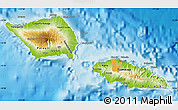 Physical Map of Samoa, political shades outside, shaded relief sea