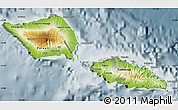 Physical Map of Samoa, semi-desaturated