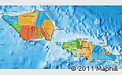 Political Map of Samoa, satellite outside, bathymetry sea
