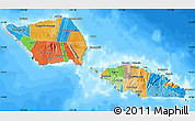 Political Map of Samoa, semi-desaturated, land only