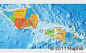 Political Map of Samoa, shaded relief outside, bathymetry sea