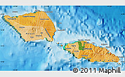 Political Shades Map of Samoa, satellite outside, bathymetry sea