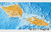 Political Shades Map of Samoa, shaded relief outside, bathymetry sea