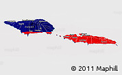 Flag Panoramic Map of Samoa, flag aligned to the middle