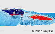 Flag Panoramic Map of Samoa, political shades outside