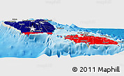 Flag Panoramic Map of Samoa, shaded relief outside
