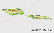 Physical Panoramic Map of Samoa, cropped outside