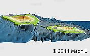 Physical Panoramic Map of Samoa, darken