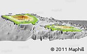Physical Panoramic Map of Samoa, desaturated