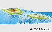 Physical Panoramic Map of Samoa, lighten, land only