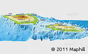 Physical Panoramic Map of Samoa, political outside, shaded relief sea