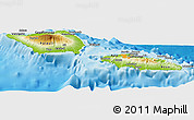 Physical Panoramic Map of Samoa, political shades outside, shaded relief sea