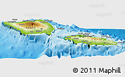 Physical Panoramic Map of Samoa, satellite outside, shaded relief sea