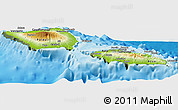 Physical Panoramic Map of Samoa, semi-desaturated, land only