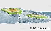 Physical Panoramic Map of Samoa, semi-desaturated