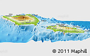 Physical Panoramic Map of Samoa, shaded relief outside