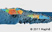Political Panoramic Map of Samoa, darken