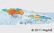 Political Panoramic Map of Samoa, lighten