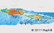 Political Panoramic Map of Samoa, physical outside