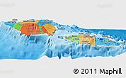 Political Panoramic Map of Samoa, political shades outside