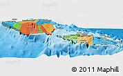 Political Panoramic Map of Samoa, satellite outside, bathymetry sea
