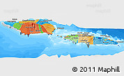 Political Panoramic Map of Samoa, semi-desaturated, land only