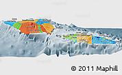 Political Panoramic Map of Samoa, semi-desaturated